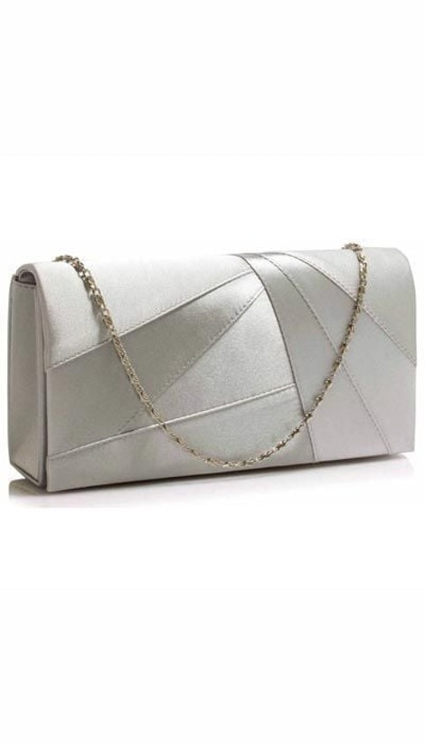 Clutch satijn zilver  2942 - GLZK tasjes en clutches
