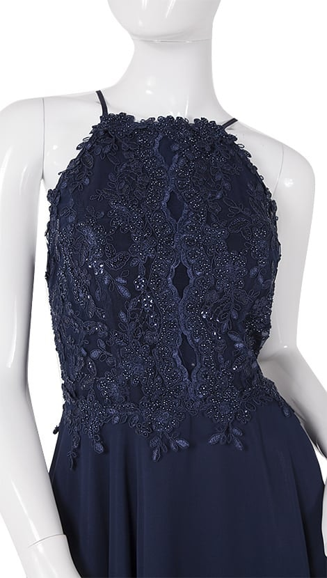 Navy blauwe feestjurk met blote rug  3938 - Paris Collection