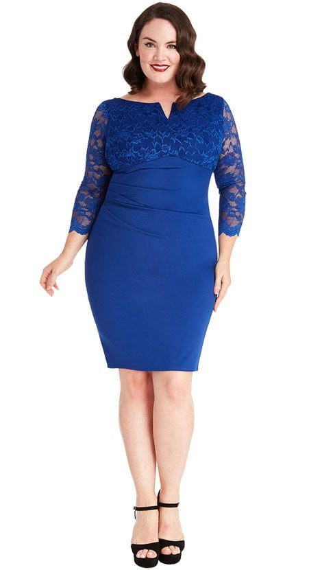 Blauw plus-size cocktailjurkje 4174 - City Goddess galajurken en cocktailjurken