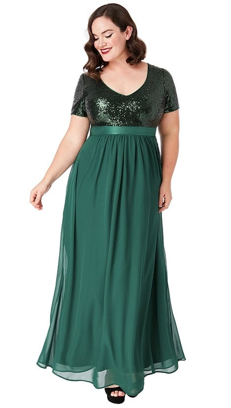 Galajurk in groen plus-size 4316 - City Goddess galajurken en cocktailjurken