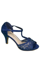 Blauwe peep toe Pumps 3646