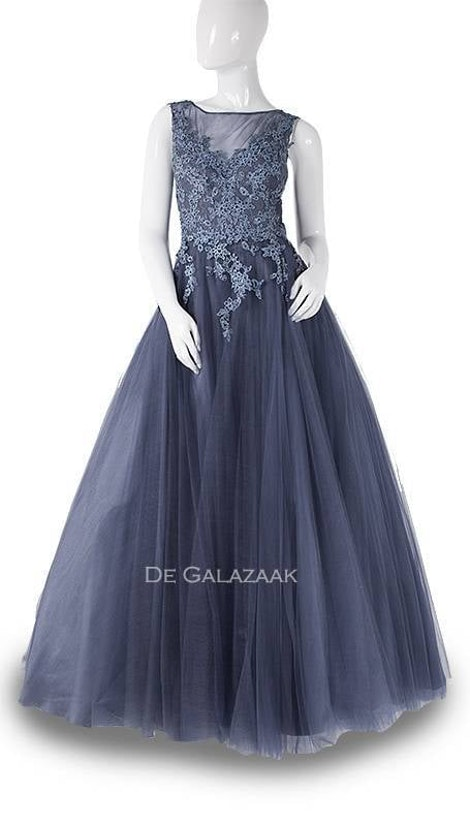 Blauw galajurk met tule rok  3726 - Magic Nights
