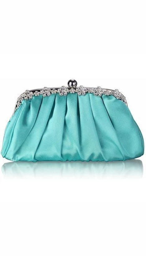 Clutch mint satijn 2948 - GLZK tasjes en clutches