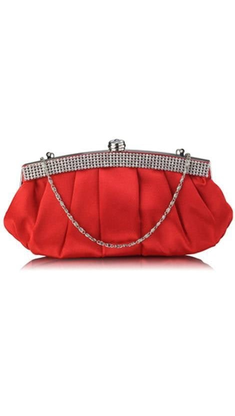 Clutch rood satijn 3839 - GLZK tasjes en clutches