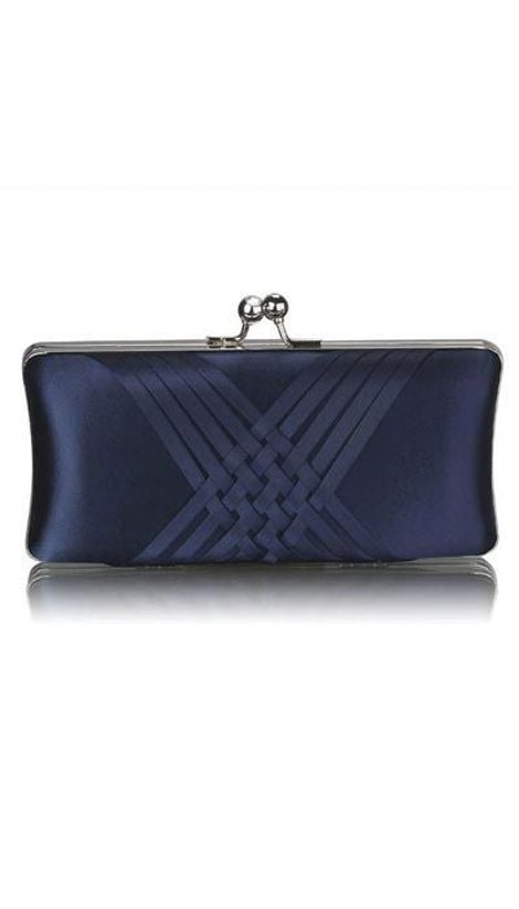 Clutch satijn navy  2946 - GLZK tasjes en clutches