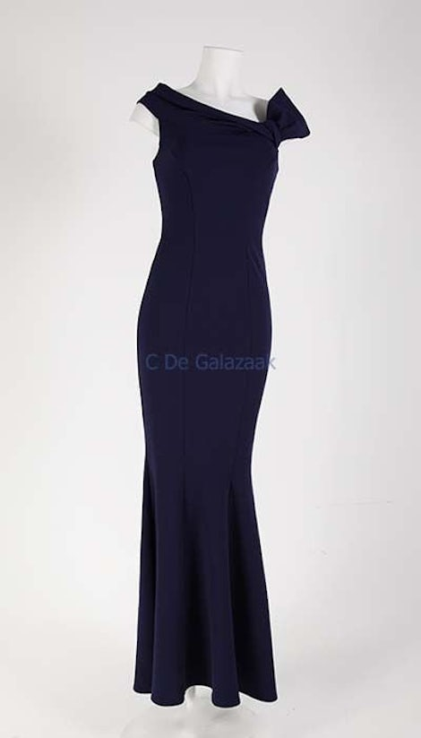 Galajurk navy off-shoulder 2734 - City Goddess galajurken en cocktailjurken