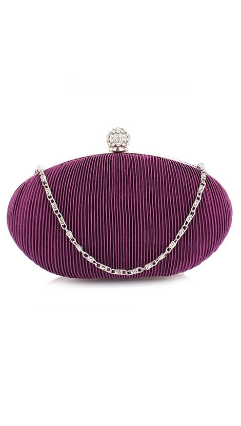 Clutch in paars plissé  4393