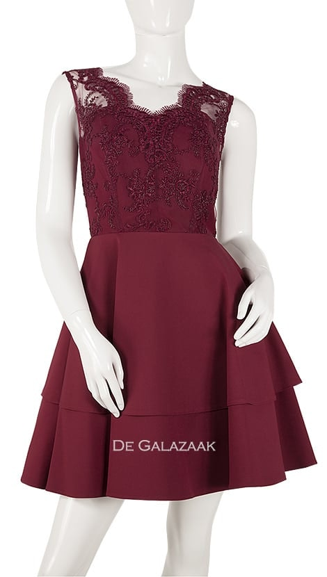 Cocktailjurk in bordeaux-rood  3855 - Paris Collection