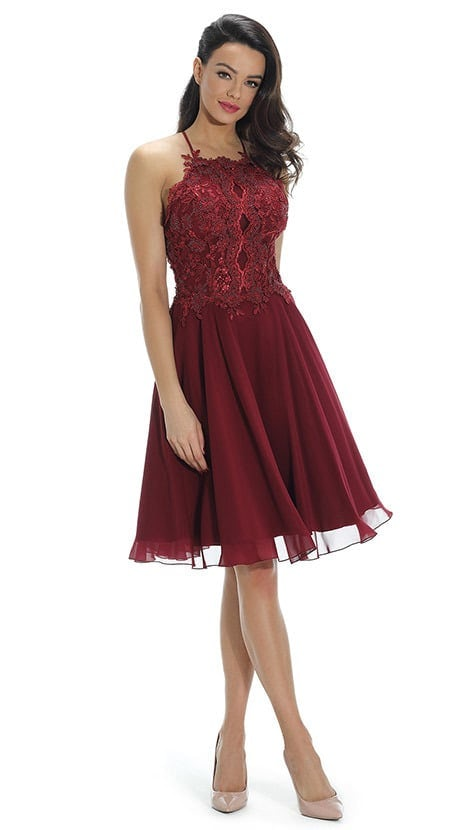 Feestjurk in bordeaux-rood met blote rug  3939 - Paris Collection